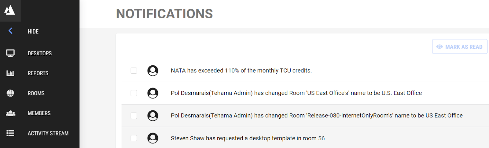 Tehama notifications